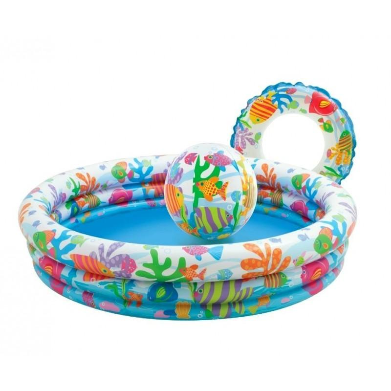Детский надувной бассейн «На рыбалке» с мячом и кругом (Intex 59469)